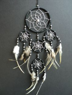 Black Dream Catcher With Silver Webbing. by SelectaVibes on Etsy, £12.99