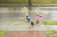 Cartwheels with your sister on a rainy summer day. Laurie Frankel Photography.