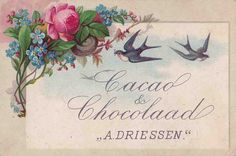 https://flic.kr/p/nSvZJr | chromo cacao driessen  - two swallows flying  - flower spray top left