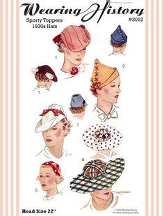1930s sporty hats pattern.