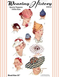 1930s sporty hats pattern. $12.00