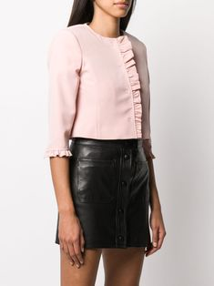 Shop online pink LIU JO ruffle trim cropped jacket as well as new season, new arrivals daily. Girl Tied Up, Liu Jo, Ruffle Trim, Leather Skirt, Women Wear, Boutique, Skirts, Sleeves, Pink