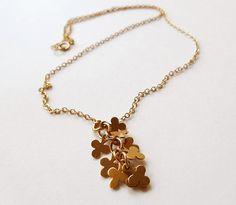 Cadenas y collares - Cadena de Gold Filled 14K con cascada de tréboles - hecho a mano por Fany-Rey en DaWanda