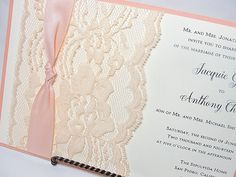 NINA - THIN KNOT Lace Wedding Invitation, Invite, Vintage, Shabby Chic, Couture