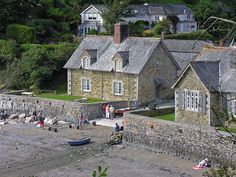 National Trust holiday cottages at Durgan beach - the one on the right is the old school house Old School House, Cymru, National Trust, Cornwall, Cottages, Wales, Breeze, Homeschool, Old Things