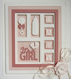 Good Sunday morning all! It& a double day of baby shadow box cards, one for the girls and one for the boys! Both cards today have . Baby Girl Cards, Boy Cards, New Baby Cards, Kids Cards, Spellbinders Cards, Scrapbooking, Baby Shower Cards, Marianne Design, Baby Scrapbook