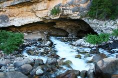 """The """"Sinks"""" of Sinks Canyon is a large cavern where the rushing river flows into cracks and crevices in the cavern floor and disappears underground."""