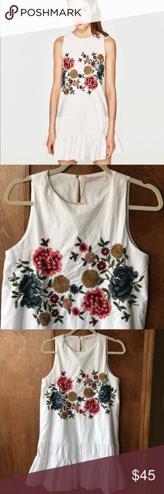 """Zara embroidered ruffle dress new Beautiful and crisp. Approximately 33"""" long. Lined.  See my closet for more sundresses! Zara Dresses Mini"""