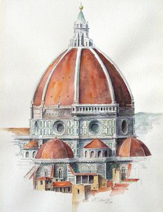 "albert-schneider:  ""El duomo firenze"", watercolor. I painted this picture with watercolors in the year 1997… Size 30x40 cm…"