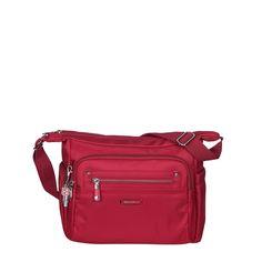 Grenada Leather Trimmed Multi-Pocket Crossbody Bag in Jester Red by Beside-U #crossbodybag #BesideU