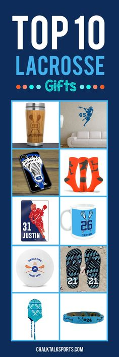 Top 10 Lacrosse gift ideas: Perfect gift ideas for holidays, special occasions, and end of season lacrosse gifts! These products are made-to-order and can be personalized with your team and lacrosse player's info! So many custom lax products to choose from at ChalkTalkSPORTS.com!