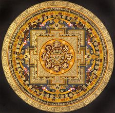 Tibetan Buddhist OM (AUM) Yoni Mandala with the Syllable Mantra, Thangka Tibetan Thangka Painting Tibetan Mandala, Tibetan Art, Tibetan Buddhism, Buddhist Meditation Techniques, Tibetan Symbols, Mantra, Alchemy Art, Chakra Art, Thangka Painting