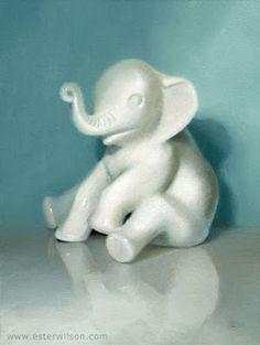 Oil painting of a ceramic elephant figurine by Ester Wilson - http://www.esterwilson.com
