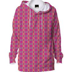 Pink Yellow Geometric Pattern Hoodie from Print All Over Me