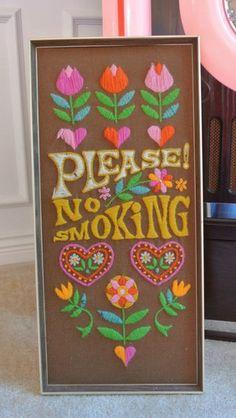 Vintage Mod Retro Handmade Yarn No Smoking Sign Wall Art Hippie Decor Decoration   eBay