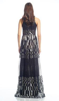 David Meister Metallic Silver Black Gown