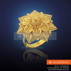 Elegance with Style! Gold Ring Designs, Gold Earrings Designs, Gold Jewellery Design, Hand Jewelry, India Jewelry, Gold Finger Rings, Gold Rings, Gold Ornaments, Jewelry Patterns