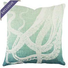 Biological Artwork Octopus Throw Pillow