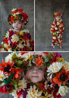 DIY halloween costume: field of flowers. I probably would torture my future kid by making them wear this...it's just so cute!