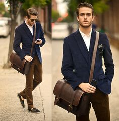 Blazer, Trousers, Bag, Slip Ons