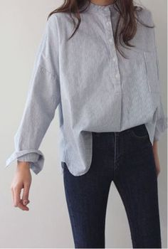 women's shirts casual look shirt jeanshose combine - Hemd Outfit Look Fashion, Fashion Clothes, Fashion Outfits, Womens Fashion, Fashion Trends, Winter Fashion, Gq Fashion, Style Clothes, Unique Fashion