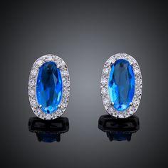 Arlumi 18k Platinum Plated Blue Crystal & Cubic zirconium Oval Stud Earrings E003