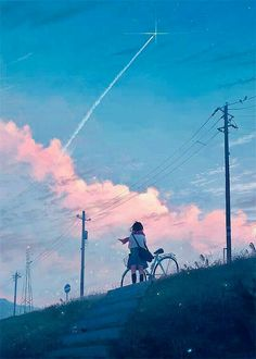Anime sky world art Anime Art Girl, Manga Art, Aesthetic Art, Aesthetic Anime, Blue Anime, Anime Scenery Wallpaper, Wow Art, Cool Drawings, Cute Art