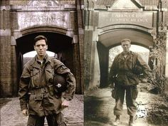 Damian Lewis standing in the same spot that Dick Winters stood 64 years before.