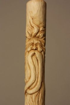 Unique Carving A Wood Spirit In A Walking Stick Collection - Project Wood Carving Faces, Dremel Wood Carving, Wood Carving Designs, Wood Carving Patterns, Wood Carving Art, Hand Carved Walking Sticks, Wooden Walking Canes, Wooden Walking Sticks, Walking Sticks And Canes