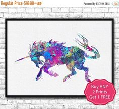 30% OFF Unicorn 6 Watercolor Print Animal Wall Decor by ArtsPrint