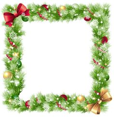 christmas frames | Christmas PNG Frame with Ornaments and Snowflakes