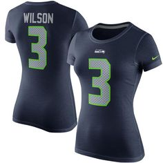 66bb813138 Women s Nike Russell Wilson College Navy Seattle Seahawks Player Pride Name    Number ...