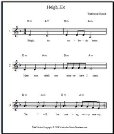 "Heigh Ho vocal round for beginning singers - also known as ""Hey Ho Nobody's Home"" - download this fun and beautiful round, free!"