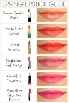 A Colorful Pout - Penny Pincher Fashion - spring lipstick guide – revlon, l'oreal, maybelline, covergirl Summer Lipstick, Lipstick For Fair Skin, Lipstick Shades, Lipstick Colors, Lip Colors, Orange Lipstick, Colours, Lipstick Guide, Drugstore Lipstick