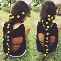 Braid with daisies.