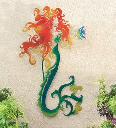 Metal Mermaid Wall Sculpture - Diggin' on this art.  Nice.
