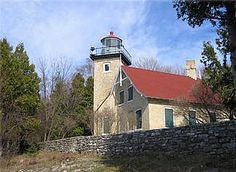 Eagle Bluff Lighthouse (Built 1868; Automated 1926)  With the growth of bayside settlements north of Sturgeon Bay, ship traffic through the channel between the Strawberry Islands, west of Chambers Island, and the mainland north of Fish Creek increased significantly.