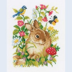 Rabbit in Flowerfield - counted cross-stitch kit  Vervaco