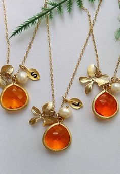 amber colored crystal, pearls and initials from Etsy Chain Jewelry, Jewellery Box, Jewlery, Silver Jewelry, Jewelry Necklaces, Jewelry Making, Bridesmaid Jewelry, Bridesmaid Gifts, Orange Orchid