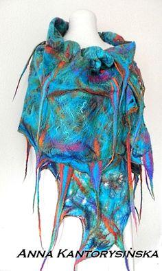 Gefilzter Schal Schal AQUARIUM handgemachte Kunst von kantorysinska