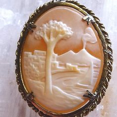 Antique Cameo Pin Rare Mt. Vesuvius Carved Sardonyx Italian Brooch