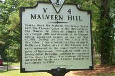 Nearby stood the Malvern Hill manor house built for Thomas Cocke in the century. (A historical marker located near Granville in Henrico County, Virginia. Malvern Hills, Virginia History, Grave Markers, War Of 1812, Family Homes, Famous Places, Interesting History, God Bless America, Southern Style