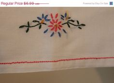 Vintage Embroidered Floral Dresser Scarf, Vanity Scarf,protector For Top Of…