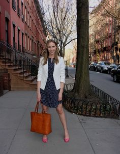 Theory Blazer, Anthropologie Dress, Madewell Transport Tote | CasuallyGlam.com #Theory #Anthropologie #Madewell