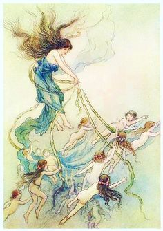 """2 WARWICK GOBLE - Category:Fairy tale illustrations - Wikimedia Commons Illustration from """"The Water-Babies - A Fairy Tale for a Land-Baby"""" by Charles Kingsley, illustrated by Warwick Goble PUBLIC DOMAIN"""
