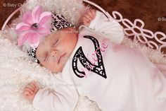 Baby Girl Onesie or Newborn Gown with Flower by BabyChichiBoutique, $38.50