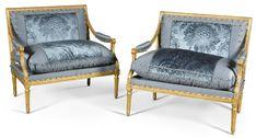 c1780 A pair of Louis XVI carved giltwood canapés by Pierre Bonnemain circa 1780 Оценка 8,000 — 12,000 GBP 10,637 - 15,955USD Лот продан 10,250 GBP (13,628 USD) (Цена продажи с учетом процента покупате