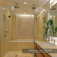 shower next to bathtub  | stone Pebble Series Stacked Timor White - traditional - bathroom tile ...