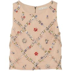Alice + Olivia Kesten embellished silk-organza cropped top ($255) ❤ liked on Polyvore featuring tops, crop top, beige, cut-out crop tops, loose fit tops, alice olivia top and pink crop top