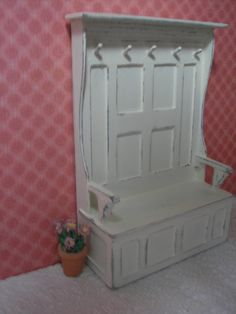Idea for front hall bench with  for my foyer (perhaps with inset cloth on the backing)   Source: Minis by Jan